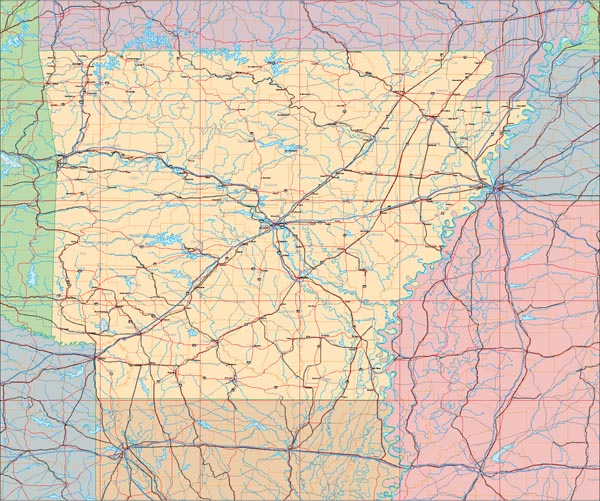 US State Illustrator EPS Vector Map Catalog Detail Map Of The - Arkansas relief map